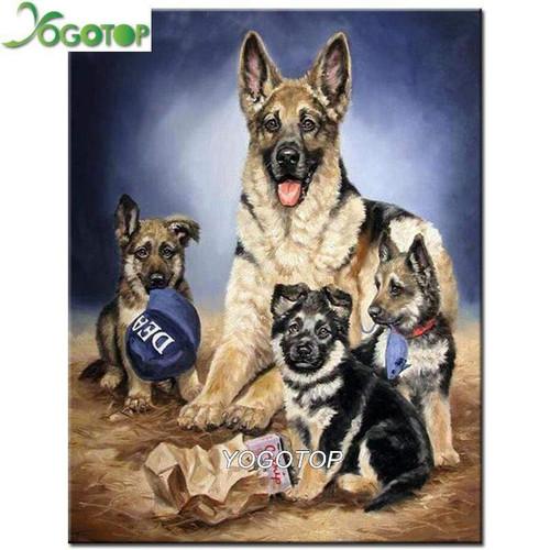 5D Diamond Painting German Shepherd Family Kit