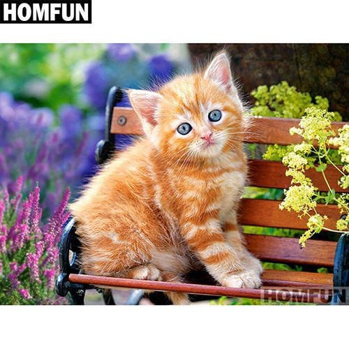 5D Diamond Painting Orange Striped Kitten Kit