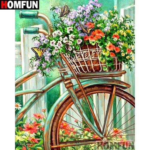 5D Diamond Painting Bicycle Basket Flowers Kit