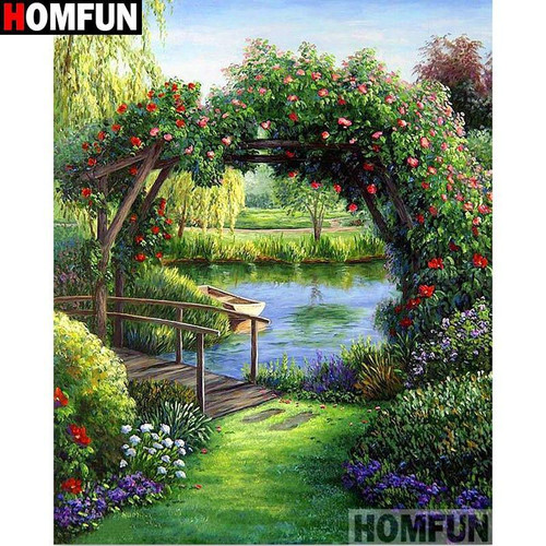 5D Diamond Painting Arch of Flowers over the Pond Kit