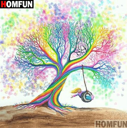5D Diamond Painting Rainbow Tree Swing Kit