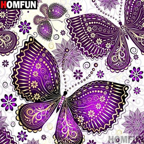 5D Diamond Painting Purple Butterfly Pattern Kit
