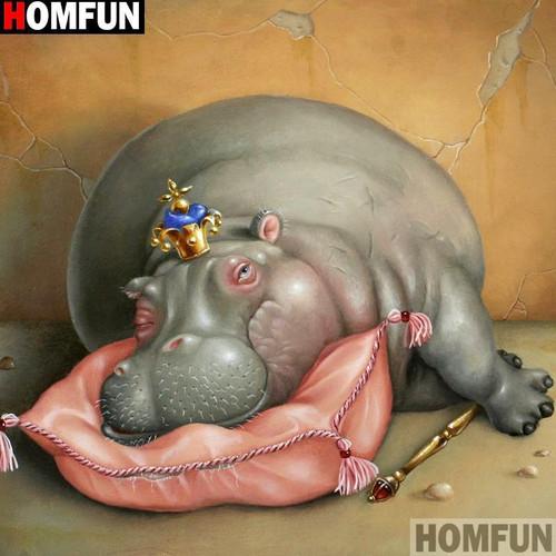 5D Diamond Painting Hippo Queen Kit