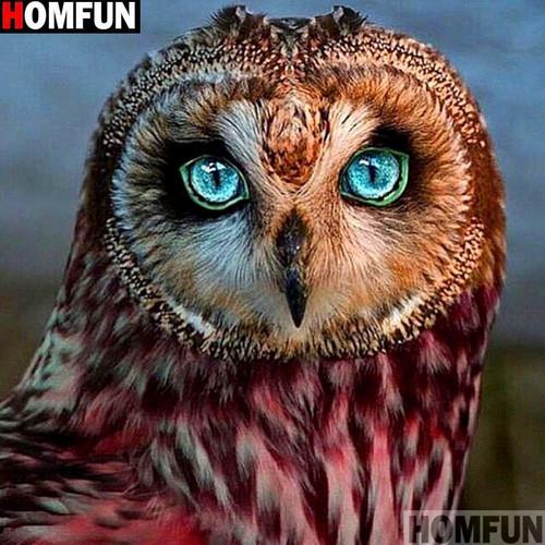 5D Diamond Painting Green Eye Owl Kit
