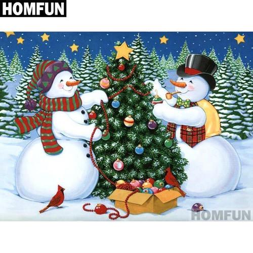 5D Diamond Painting Snowmen Tree Trimming Kit