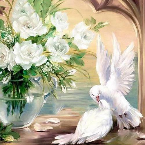 5D Diamond Painting White Flowers Dove Kit
