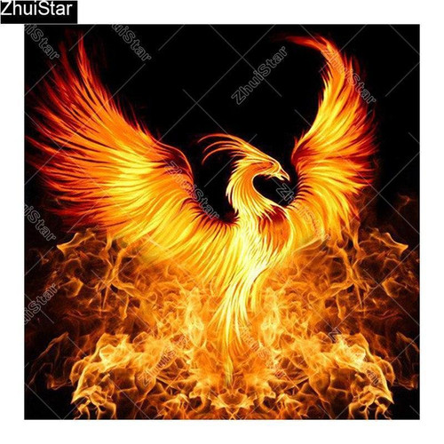 5D Diamond Painting Fire Phoenix Rising in the Night Kit