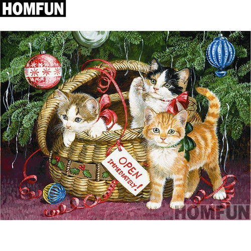 5D Diamond Painting Basket of Christmas Kittens Kit
