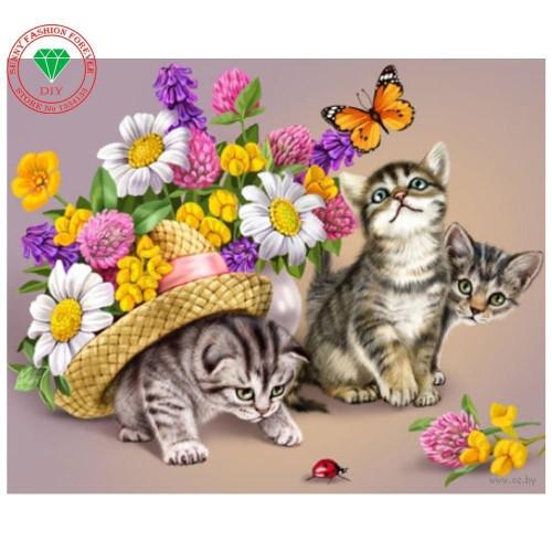 5D Diamond Painting Flower Kittens Kit