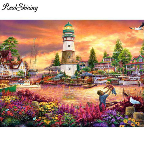 5D Diamond Panting Flower Bay Light House Kit