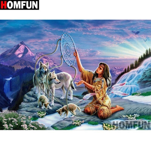 5D Diamond Painting Dream Catcher and Wolves Kit