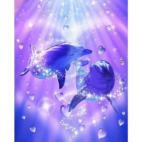 5D Diamond Painting Heart Bubble Dolphins Kit