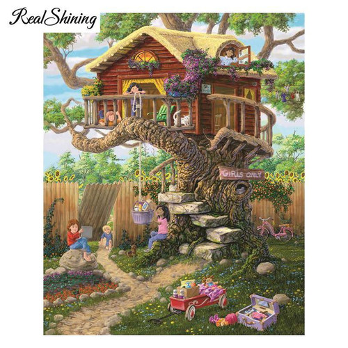 5D Diamond Painting Children's Tree House Kit