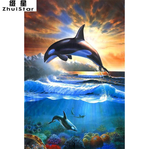 5D Diamond Painting Orcas in the Sea Kit