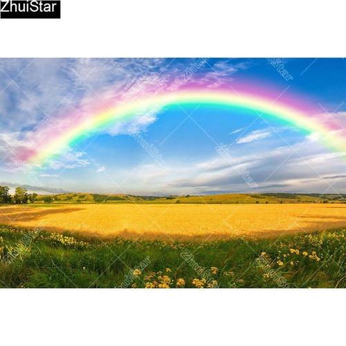 5D Diamond Painting Rainbow over Golden Fields Kit