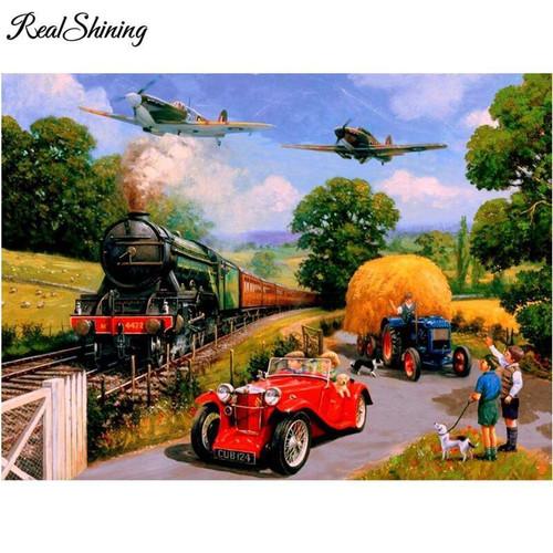 5D Diamond Painting Trains, Planes and Automobiles Kit
