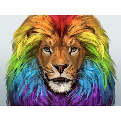 5D Diamond Painting Rainbow Lion Mane Kit