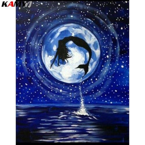 5D Diamond Painting Mermaid Moon Silhouette Kit