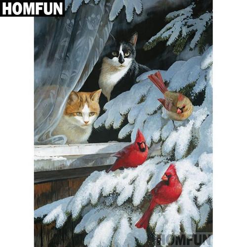 5D Diamond Painting Cats and Birds Kit