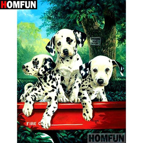 5D Diamond Painting Three Dalmatians in a Wagon kit