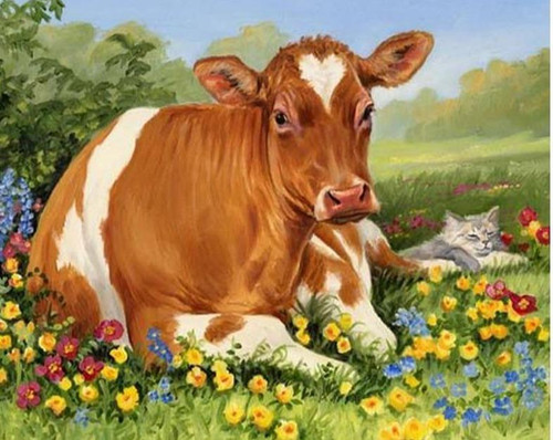 5D Diamond Painting Cow and the Cat Kit