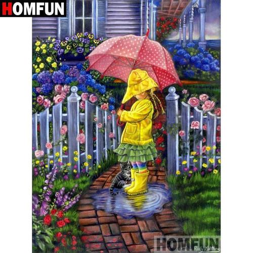 5D Diamond Painting Spring Rain and Umbrellas Kit