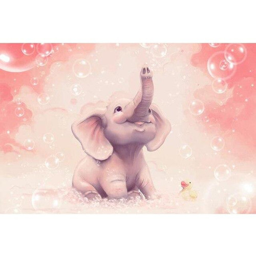5D Diamond Painting Baby Elephant Bubbles Kit
