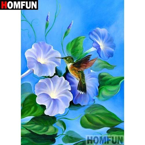 5D Diamond Painting Hummingbird and Blue Flowers Kit