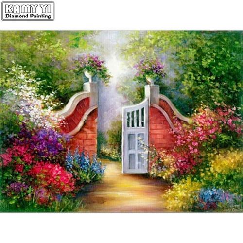 5D Diamond Painting White Gate Garden Kit