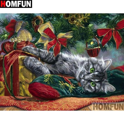 5D Diamond Painting Grey Cat Under the Tree Kit