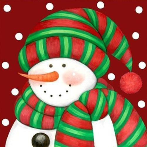 5D Diamond Painting Green and Red Striped Scarf Snowman Kit