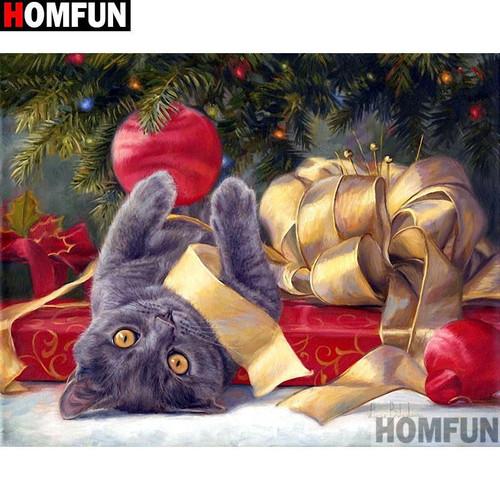 5D Diamond Painting Cat Christmas Fun Kit