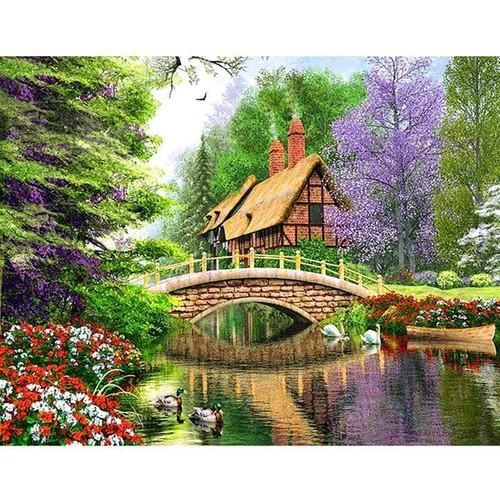5D Diamond Painting Brick House by the Stream Kit