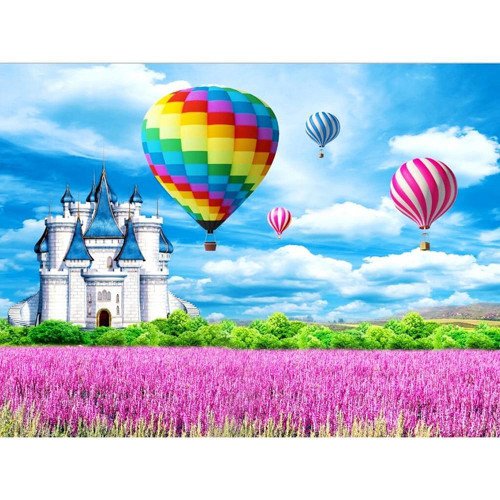 5D Diamond Painting Castle and Hot Air Balloons Kit