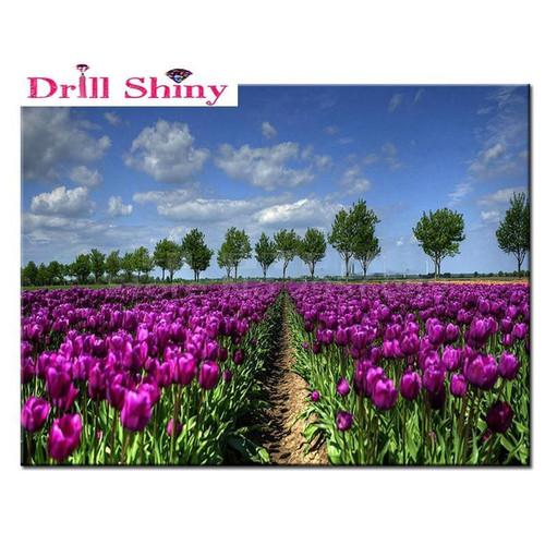 5D Diamond Painting Purple Tulip Fields Kit