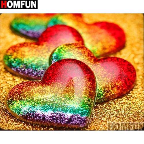5D Diamond Painting Rainbow Hearts on Gold Kit