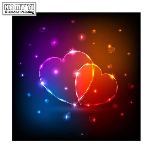 5D Diamond Painting Two Hearts Connected Kit