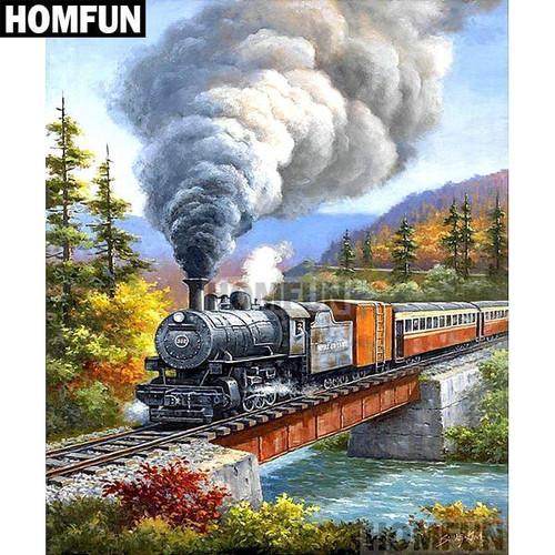 5D Diamond Painting Stream Train Bridge Kit