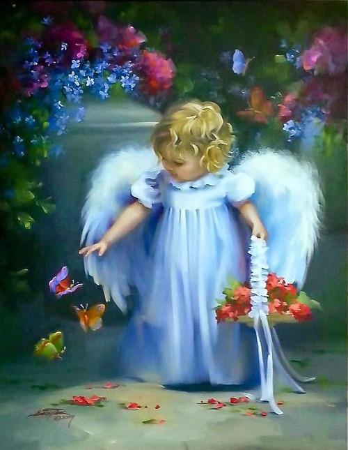 5D Diamond Painting Little Angel Butterflies Kit