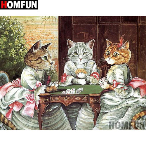 5D Diamond Painting Sophisticated Cat Card Game Kit