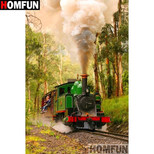 5D Diamond Painting Green Steam Train Kit