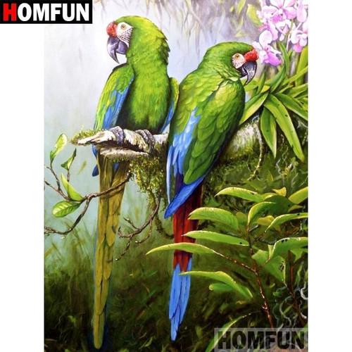 5D Diamond Painting Two Green Parrots Kit