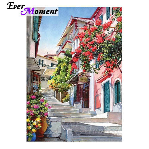 5D Diamond Painting Street Stairs by the Flowers Kit
