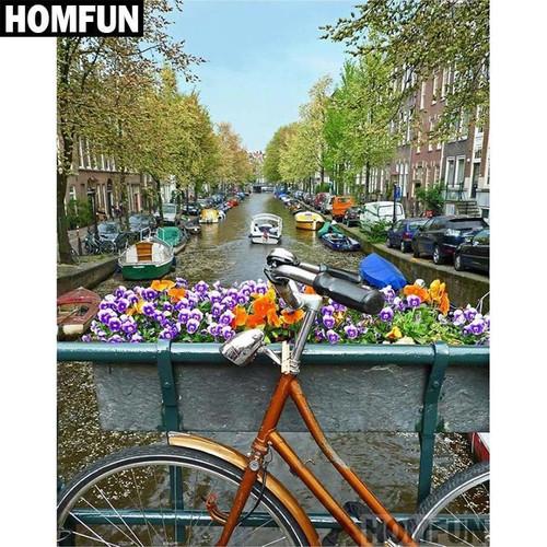 5D Diamond Painting Bicycle on the Water Bridge Kit