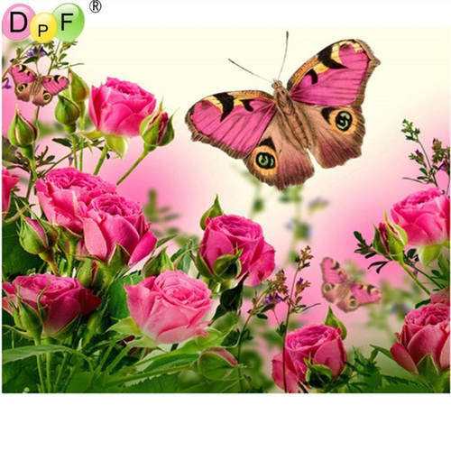 5D Diamond Painting Pink Roses and Butterflies Kit
