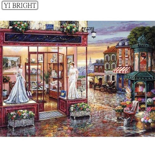 5D Diamond Painting Wedding Dress in the Window Kit