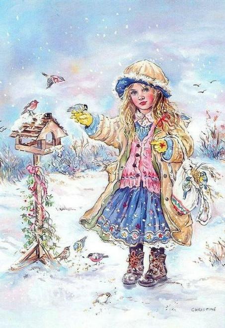 5D Diamond Painting Little Girl and the Birds Kit