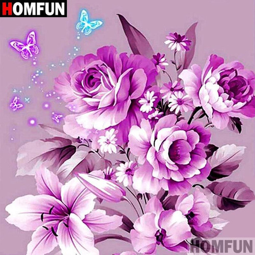 5D Diamond Painting Lavender Flowers and Butterflies Kit