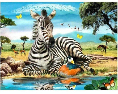 5D Diamond Painting Zebra and a Duck Kit