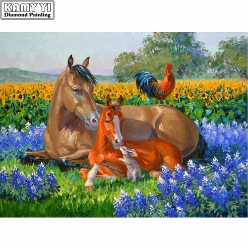 5D Diamond Painting Horse, Foal and a Rooster Kit